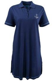 Kleid Homewear, Polokragen, Ankerdetail, Strass