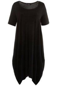 Kleid Homewear, Zipfelsaum, Ziernähte, Rundhalsausschnitt