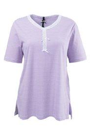 Pyjama-Shirt, geringelt und Spitze