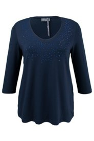Shirt mit Ziersteinen und Stretchkomfort, A-Linie