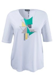 Shirt mit Grafik-Applikation und Metallic-Dekor, A-Linie