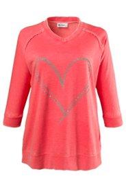 Sweatshirt mit Herz aus Glitzersteinen, oversized