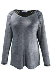 Pullover mit Metallic-Schimmer und Ajourmuster