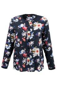 Bluse mit Blütenmuster und Rippbündchen
