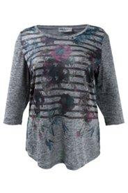 Shirt mit Blütenmuster und Metallic-Streifen, A-Linie