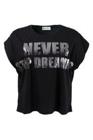 Shirt mit weiten Schultern und Metallic-Schriftzug
