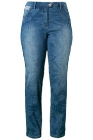 Jeans mit Blütendruck, gerades Bein, Stretch