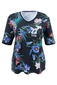 Shirt mit Blütenmuster und Stretchkomfort, A-Linie