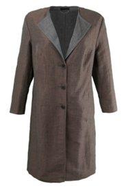 Lange Jacke in Doubleface-Qualität, Leinenmischung