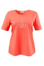 Shirt mit PARIS-Schriftzug aus Glitzersteinen, A-Linie