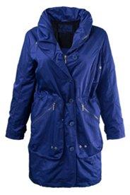 Mantel aus schimmerndem Gewebe, Schalkragen mit Kapuze