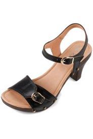 Sandaletten, Absatz mit Metallic-Einsatz, Weite H