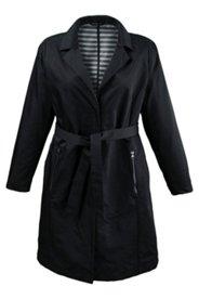 Mantel mit Gürtel - außen uni, innen gestreift