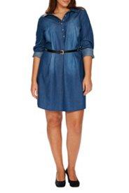 Kleid, Jeans, Hemdkragen, Knopfleiste bis zur Taille, Tunikaschnitt, Baumwolle