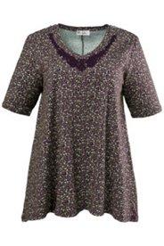 Shirt mit Zipfelsaum und Spitzenbesatz, A-Linie