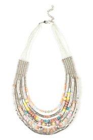 Collier mit Perlen und Metallic-Dekoren, mehrreihig