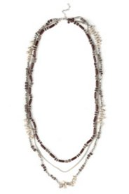 Halskette, 3-reihiger Perlenmix