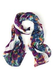 Schal mit Streifen- und Blütenmuster