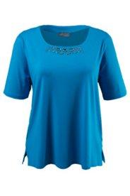 Shirt mit Ziersteinen und Carree-Ausschnitt, Viskose-Crêpe