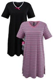 2er-Pack Bigshirts, einfarbig/geringelt, Baumwolle