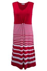 Kleid Homewear, Zierknoten, V-Ausschnitt, ärmellos, Streifen
