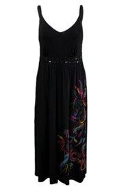 Kleid mit Ziersteinen und Blüten am Saum, Rücken gesmokt