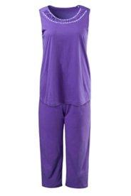 Pyjama, ärmellos, 7/8 Hose, verzierter Ausschnitt, Blütendetails
