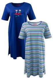 Bigshirt, 2er-Pack, Streifen, Boot, Baumwolle