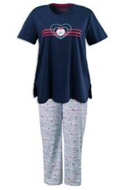 Pyjama mit Herz- und Fischmotiv, Baumwolljersey