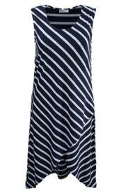 Kleid Homewear, Ärmellos, Lagenlook, Streifen