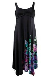 Kleid Homewear, Ärmellos, Zipfelsaum, Blumendruck vorne