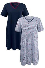 2er-Pack Bigshirts mit Seepferdchenmotiv, Baumwolle