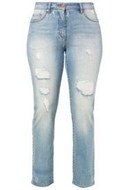 Jeans mit blickdicht unterlegten Destroy-Effekten