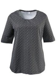 Shirt mit feinem Blütenmuster und gekräuseltem Ausschnitt