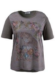 Shirt mit Kupfernieten und Leopardenmotiv, Elasthan