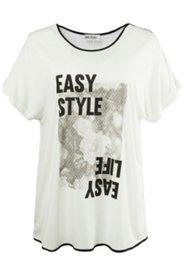 T-Shirt mit U-Boot-Ausschnitt und weiten Schultern
