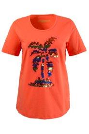 Shirt mit Palmenmotiv aus Pailletten, A-Linie