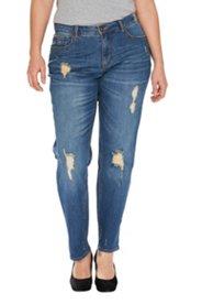 Boyfriend-Jeans, Destroy-Effekte, Konisches Bein