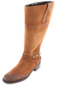 Stiefel aus Veloursleder mit goldener Zierschnalle, Weite H