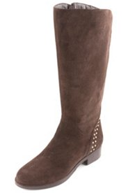 Stiefel aus Veloursleder mit Ziernieten, Weite H