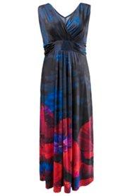Kleid mit Mohnblütenmotiv und geraffter Büste, Sommerkleid