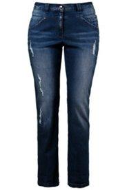 Jeans, Röhre, gerades Bein, Used-Look, Stretch
