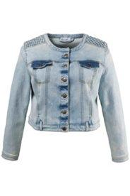 Jeansjacke, Schulterverzierung, kurze Form, hell gewaschen