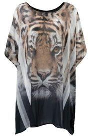 Kleid Kaftan, weiter Schnitt, Tigermotiv vorne, einfarbig hinten, Chiffon