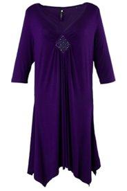 Kleid mit Raffung und Glitzersteinen