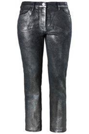 Jeans, Metallic-Beschichtung, schmale 5-Pocket-Form, Schnürung