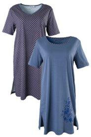 Bigshirts, 2er-Pack mit Blüten und Rautenmuster, 100 % Baumwolle