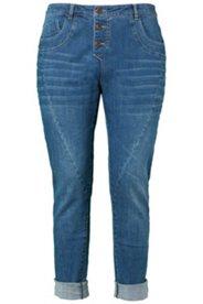 Jeans, Used-Look, Ziernähte, weite Oberschenkel