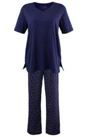 Pyjama mit Blütenknöpfen, 100 % Baumwolle