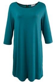 Kleid mit Paspeln in Lederoptik